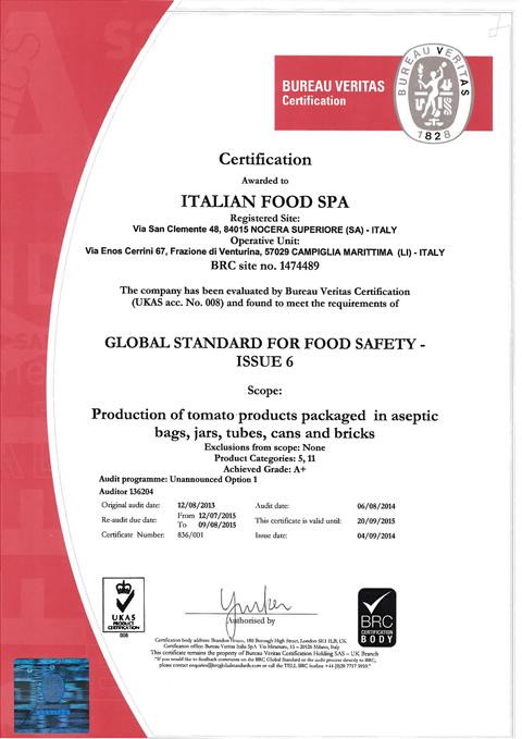 Certificato BRC Italian Food 2014_480